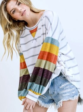 Striped Top with Multi Color Striped Sleeves