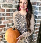 Taupe Leopard Contrast Pocket Top