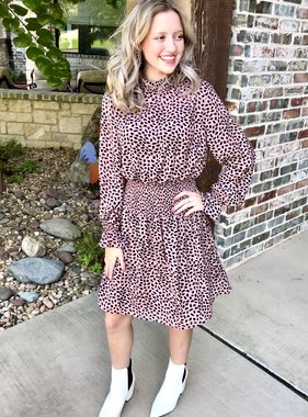Rose Leopard Chiffon Dress
