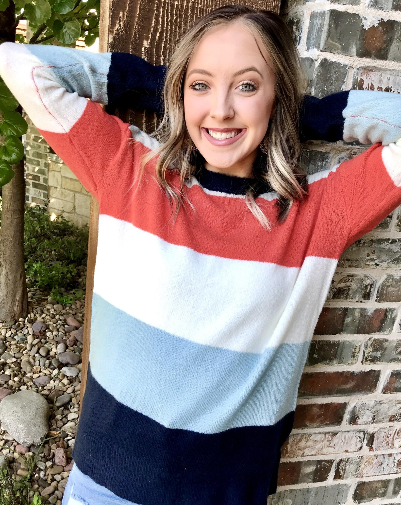 Blue/Orange Color Block Sweater