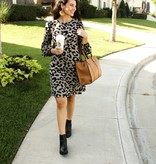 Leopard Print LS Pleated Dress