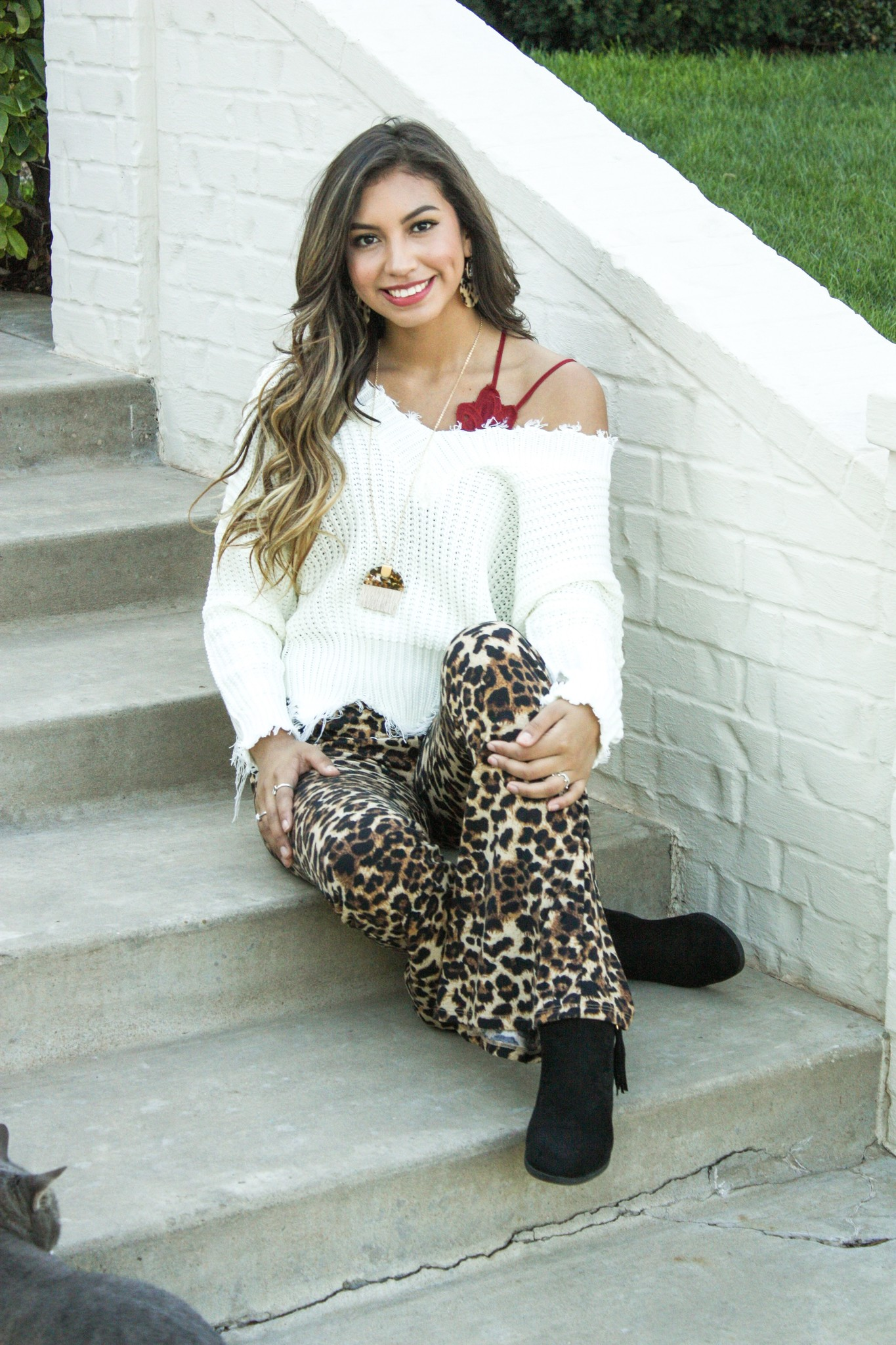 Taupe Leopard Stretch Flare Pant
