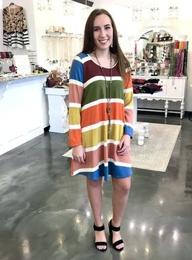 Mustard/Olive Striped LS Dress