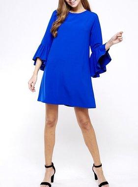 Royal Blue Bell Sleeve Dress