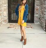 Mustard Ruffled LS Dress