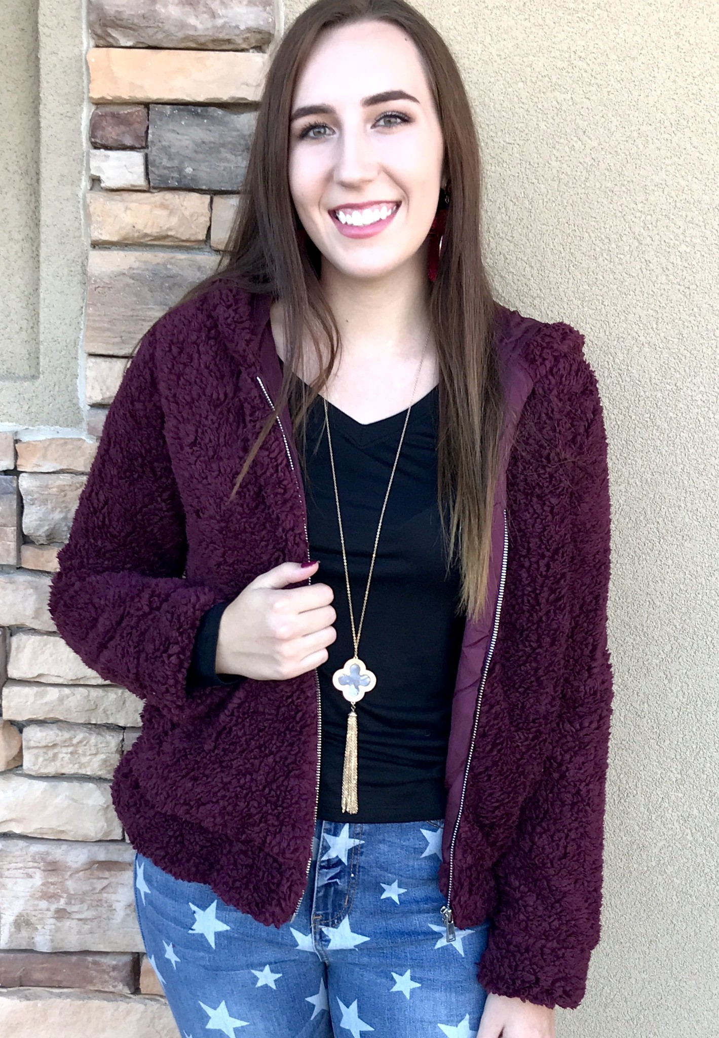 Fur Zip Hood Jacket Burgundy