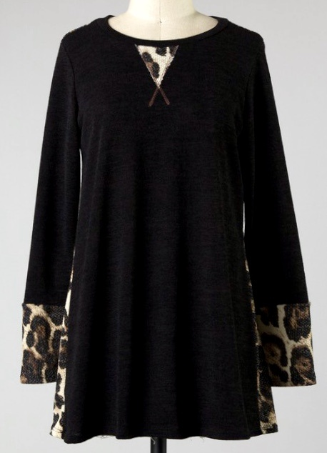 Black Animal Print Cuff Top