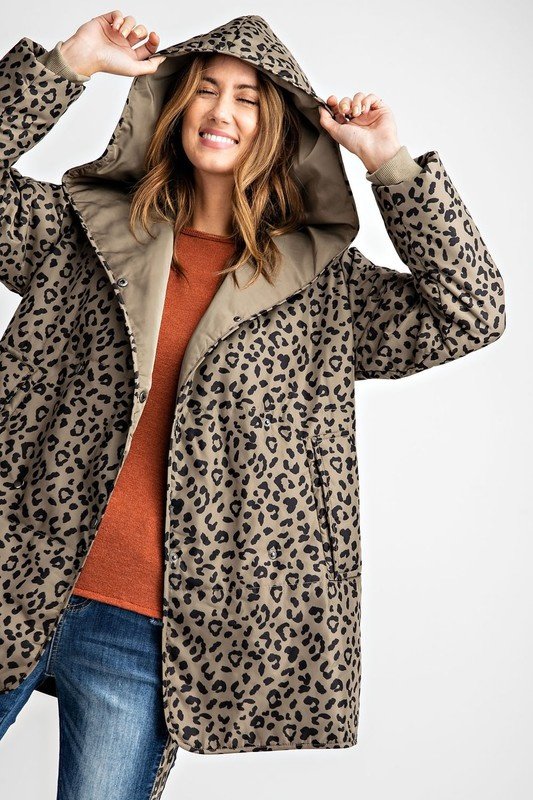 Faded Olive Leopard Padded Jacket