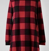 Red Plaid Loose Fit LS Top