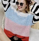 Multi Bright Color Block Sweater