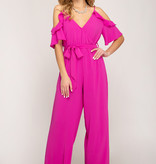 Magenta Ruffled Cold Shoulder Jumpsuit