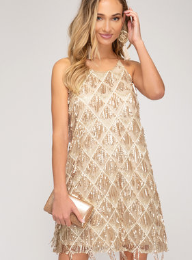 Gold Sequin Mesh Cami Dress
