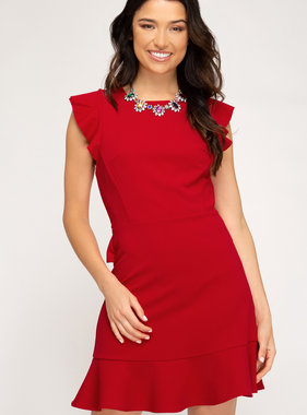 Red Knit Cross Back Dress