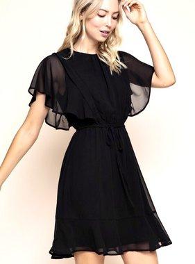Black Flutter Sleeve Dress