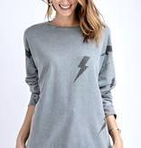 Faded Blue Lightening Bolt Sweater