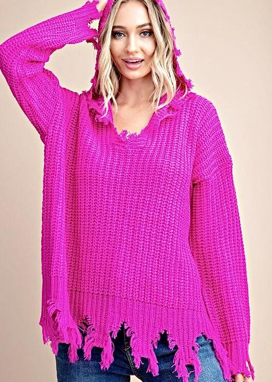 Hot Pink Distressed Hoodie