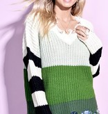 Green/Mint Striped V-Neck Distressed Sweater