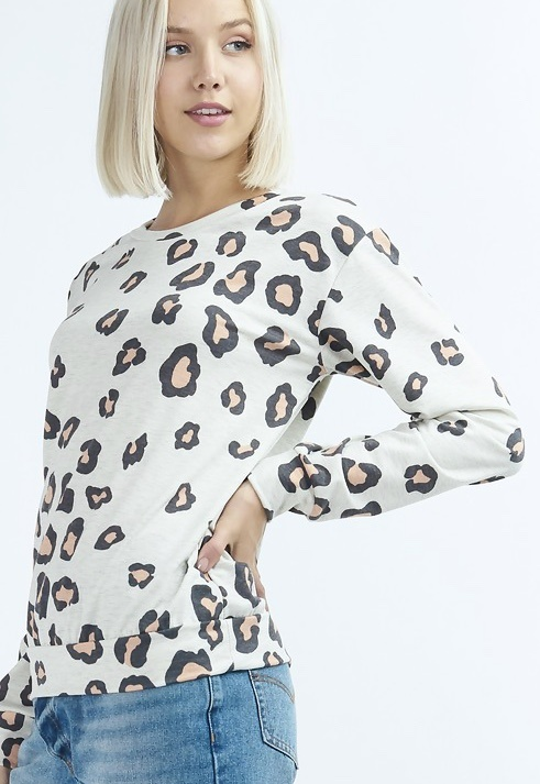 Oatmeal LS Leopard Top