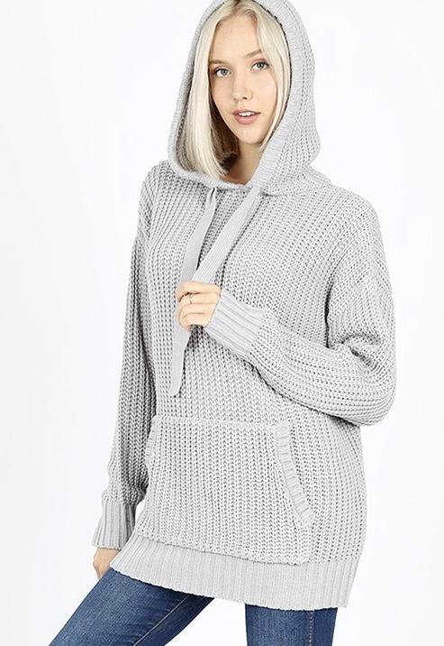 Light Grey Waffle Knit Sweater Hoodie