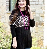Black LS Top with Leopard Accent