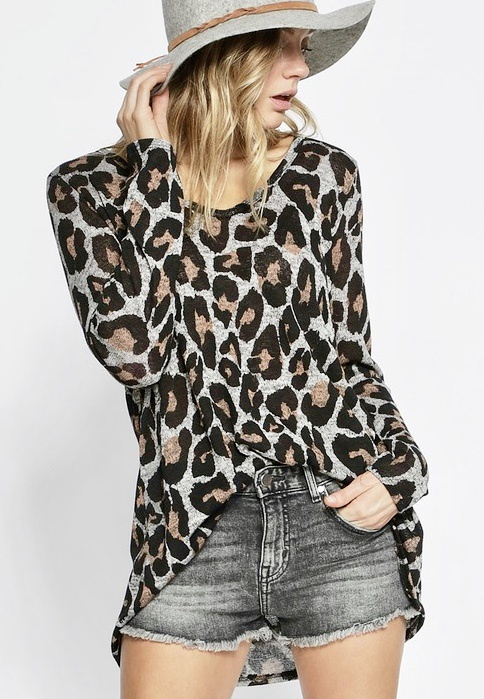 Leopard Sweater Charcoal