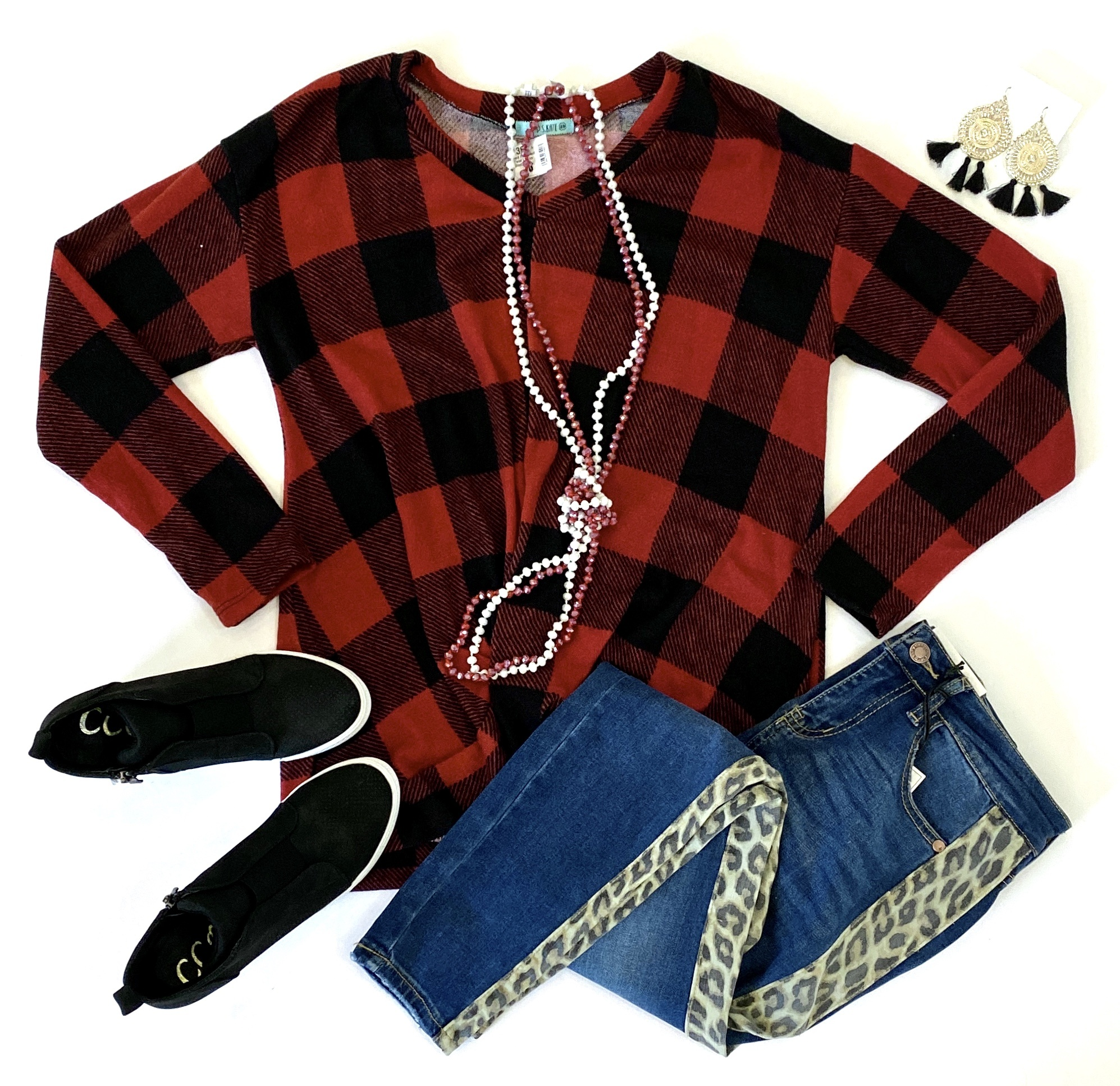 Red Plaid Front Twist LS Top