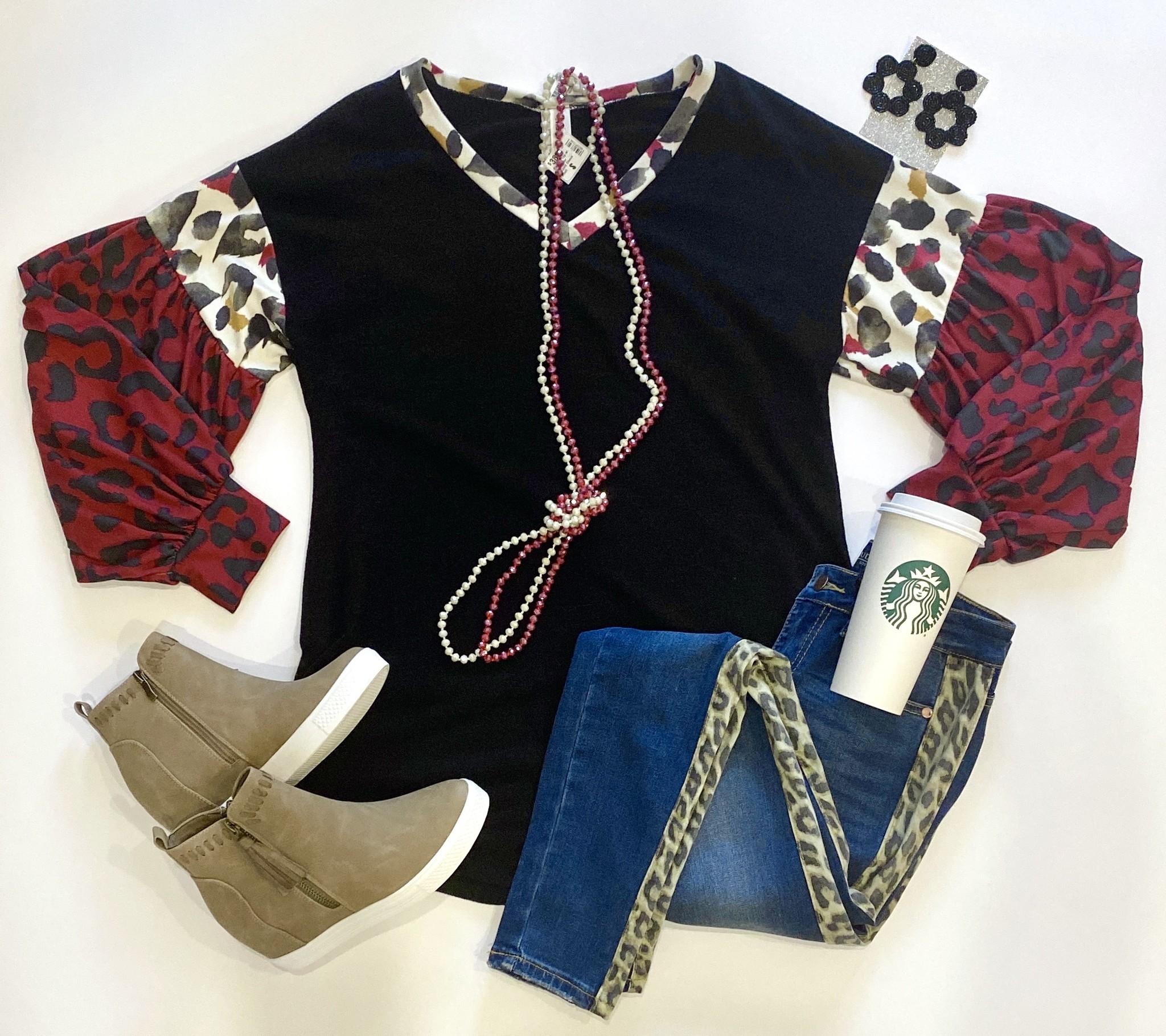 Black LS Top w/ Multi Color Leopard Sleeve