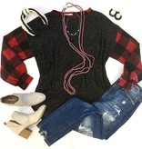 Black/Buffalo Plaid Sleeve Top