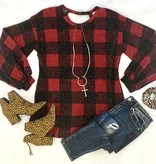 Red Checkered Print LS Top w/ Caged Back