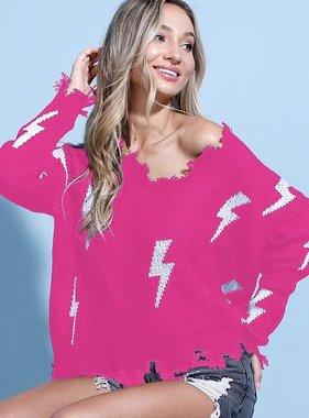 Hot Pink Distressed Lightning Bolt Sweater