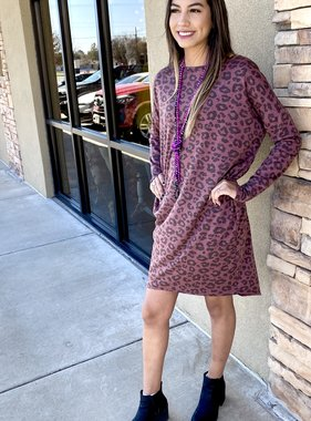 Mauve Leopard Hi-Low Dress