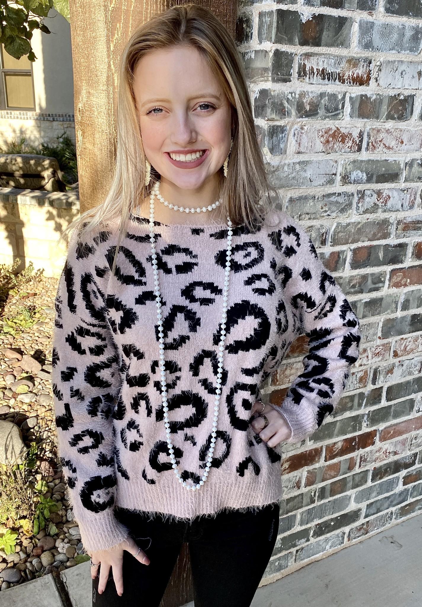 Blush Leopard Twist Back Sweater