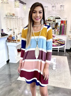 Navy/Burgundy Striped LS Dress