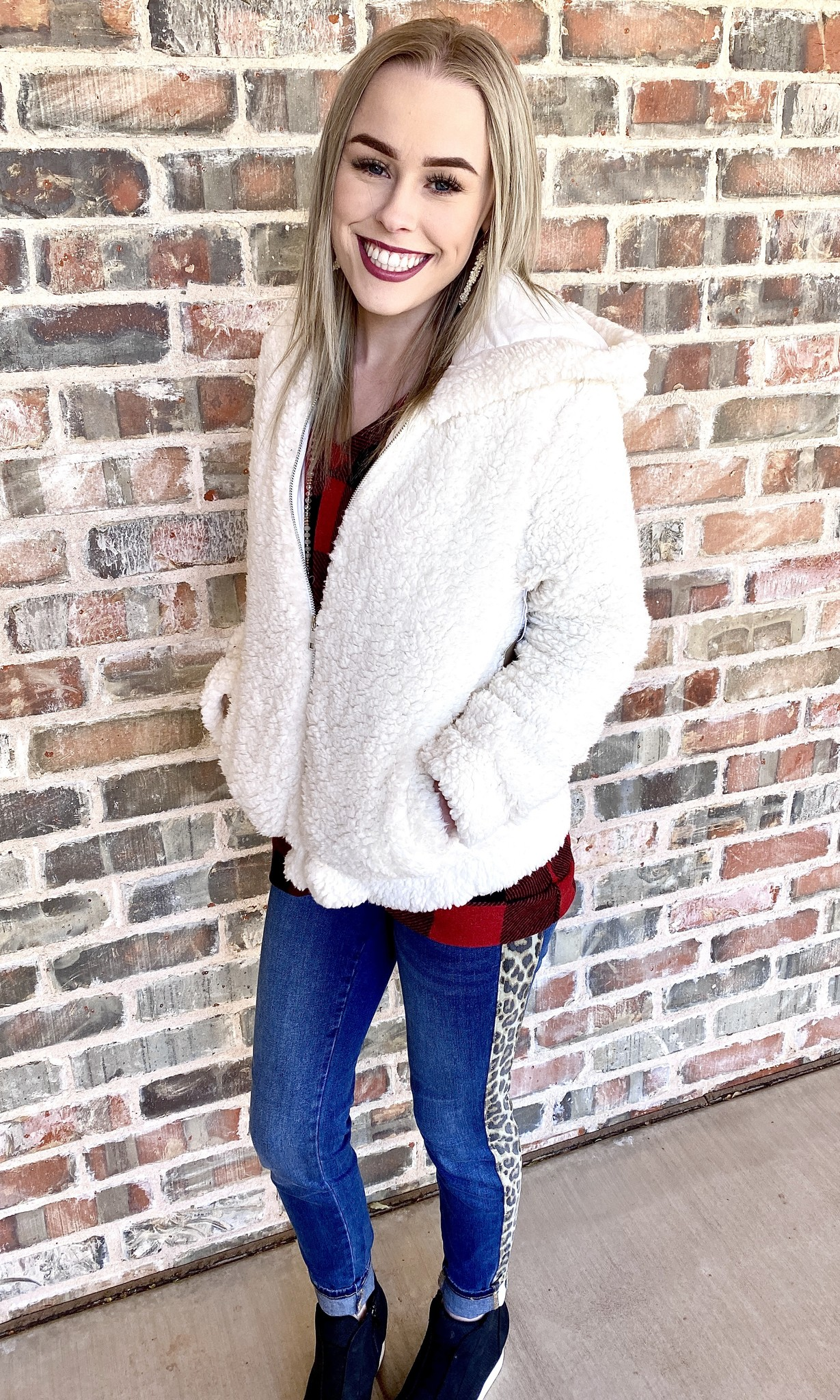 Fur Zip Hood Jacket Dusty White