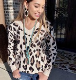 Taupe Leopard V-Neck Sweater