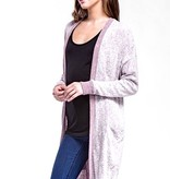 Burgundy Light Wash LS Cardigan