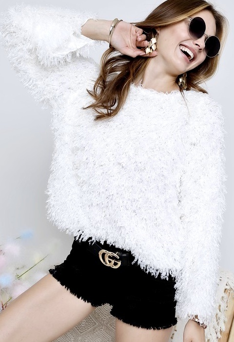 Ivory Cool Girl Crop Sweater