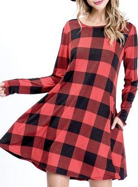 Black/Red Plaid LS Dress W/Pocket