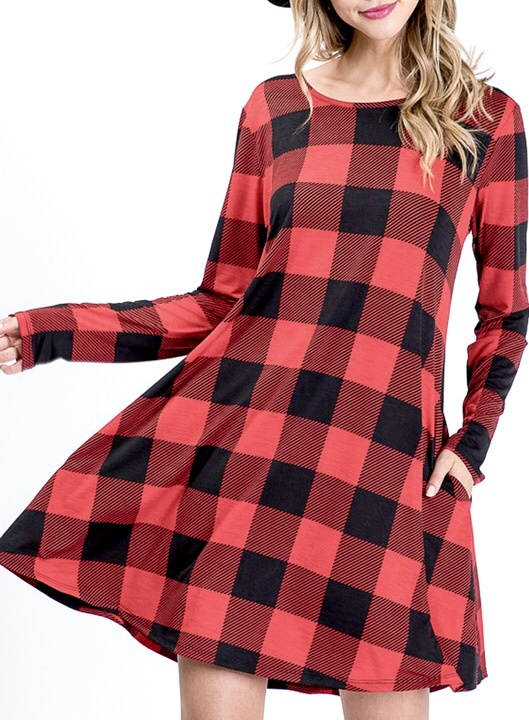 Black/Red Plaid LS Dress W/Pocket
