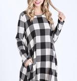 Black/Ivory LS Plaid Dress