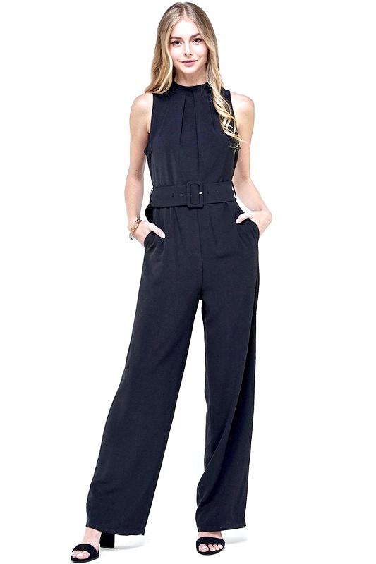 Black Belted Jumpsuit W/ Pockets