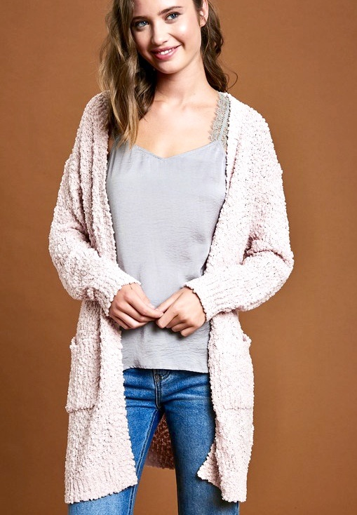 Powder Pink Popcorn Cardigan