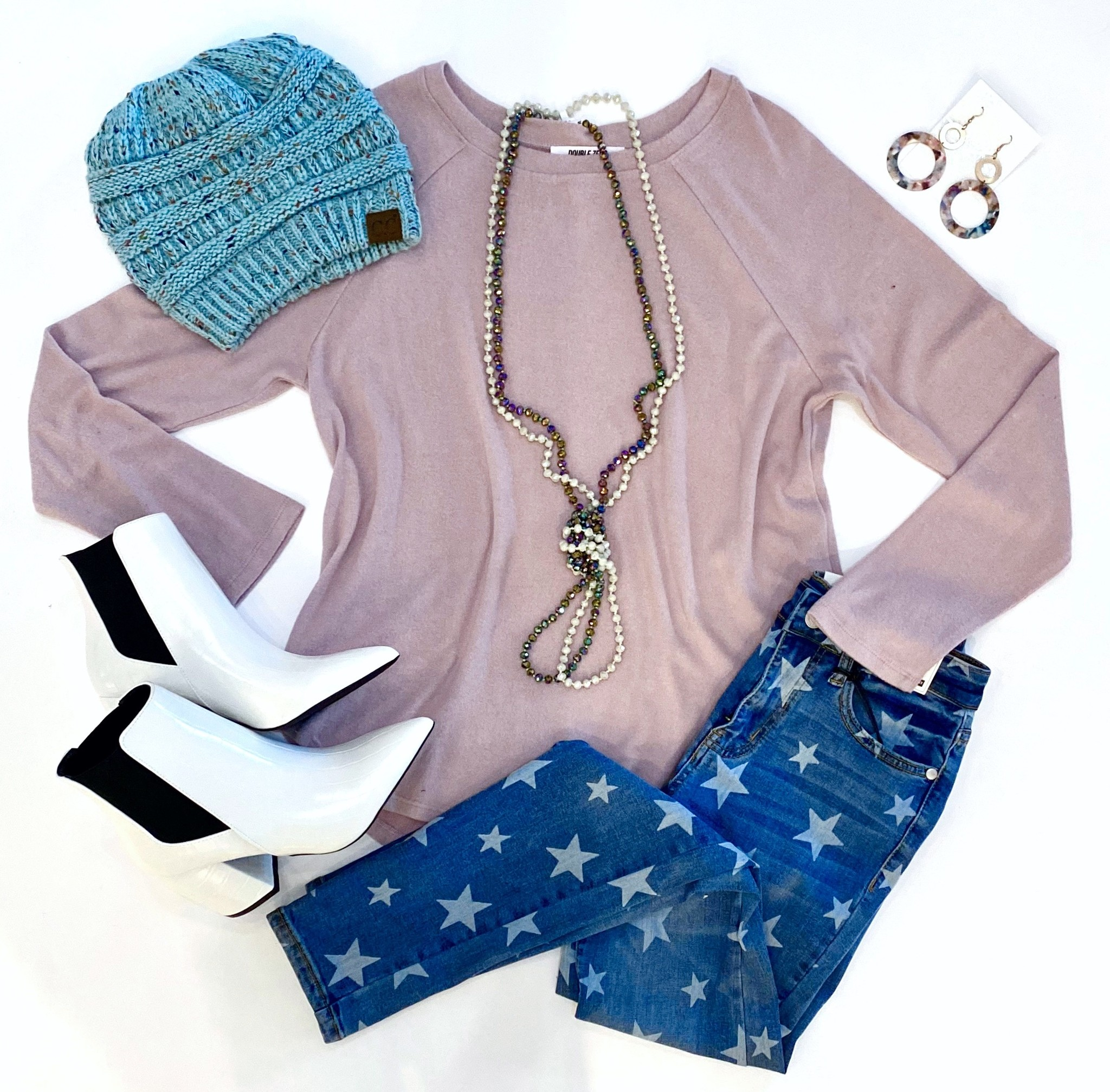 Dusty Pink Soft Knit LS Top