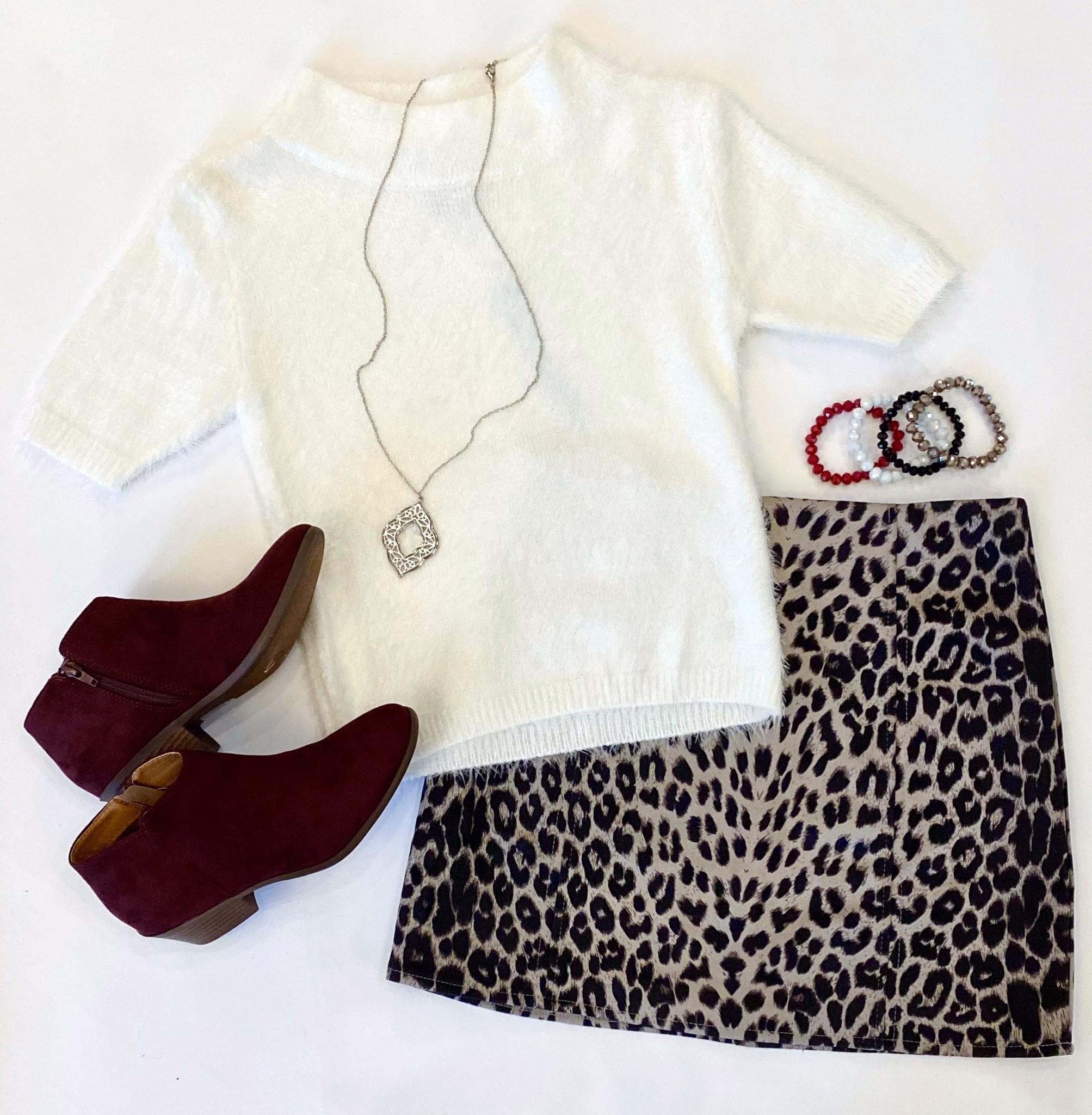 Cream SS Fuzzy Sweater