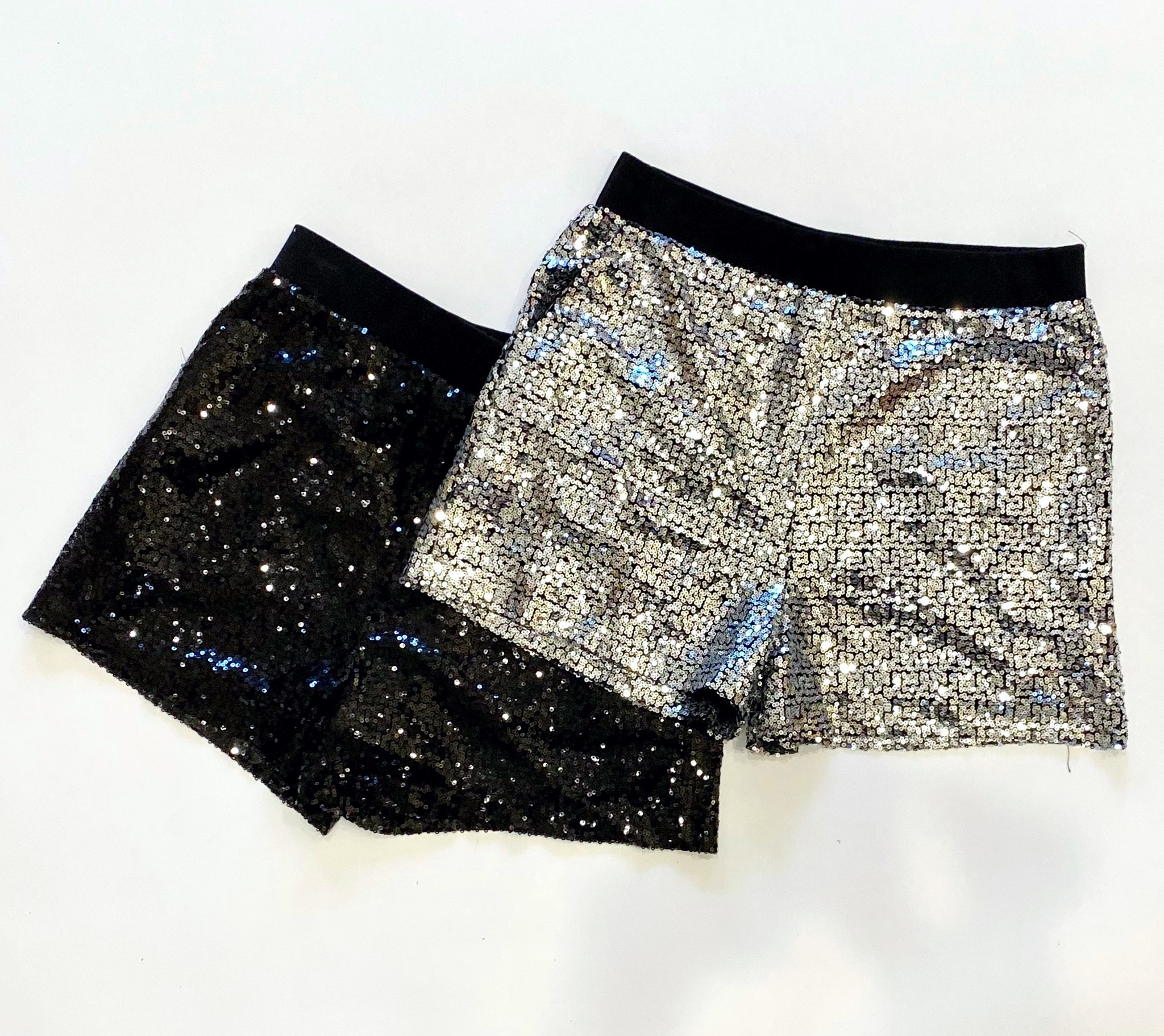 Black Sequin Party Shorts