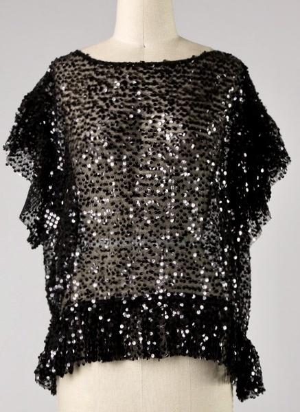 Black Sequin Ruffle Sleeve Top