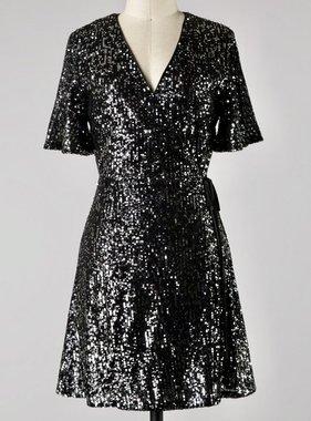 Black Half Sleeve Sequin Wrap Dress