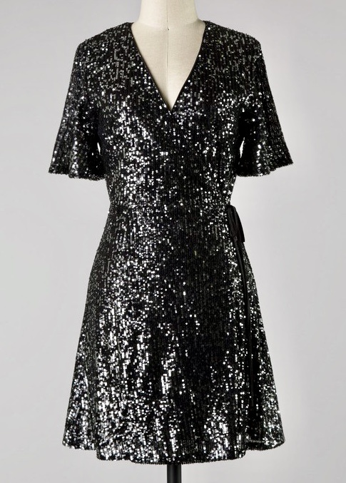 Black Half Sleeve Sequin Wrap Dress