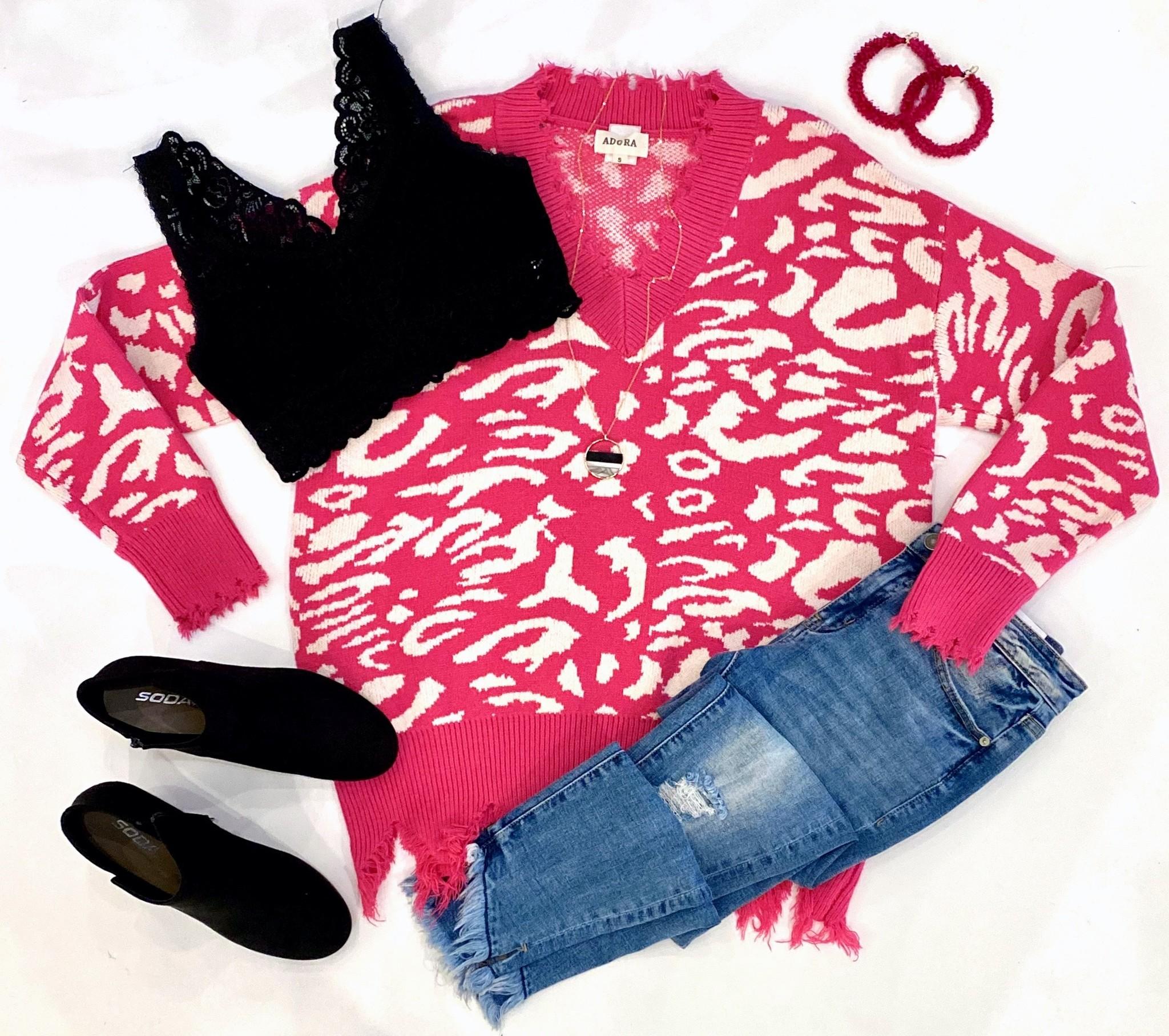 Neon Fuchsia Leopard Distressed Sweater