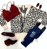 Cream/Black Distressed Leopard Sweater